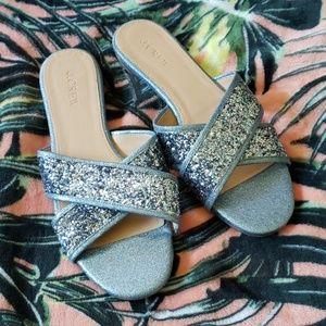 J CREW Blue Glitter Sandals Size 8